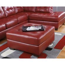 Signature Design by Ashley Alliston Oversized Ottoman in Salsa Faux Leather [FSD-2399OTT-RED-GG]