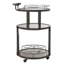 Rio 3 Tier Round Bar Cart and Wine Rack - Gunmetal / Tinted Glass