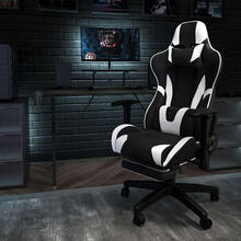 Black Gaming Desk and Black Footrest Reclining Gaming Chair Set with Cup Holder, Headphone Hook, and Monitor\/Smartphone Stand