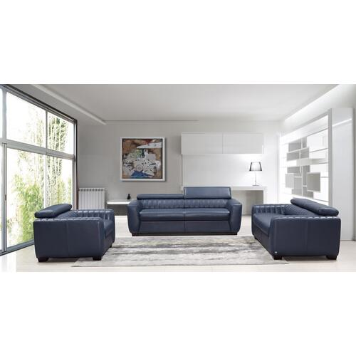 Divani Casa Russo Modern Blue Leather Sofa Set