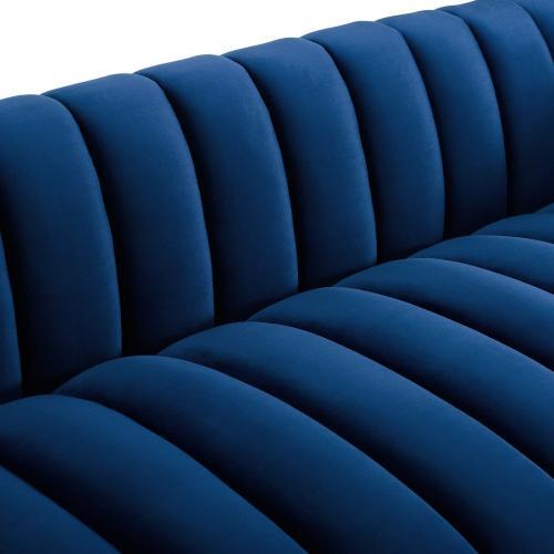 Entertain Vertical Channel Tufted Performance Velvet Sofa in Navy