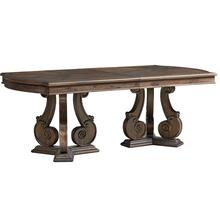 "Parliment Pedestal Table with 18"" Leaf, Brown"