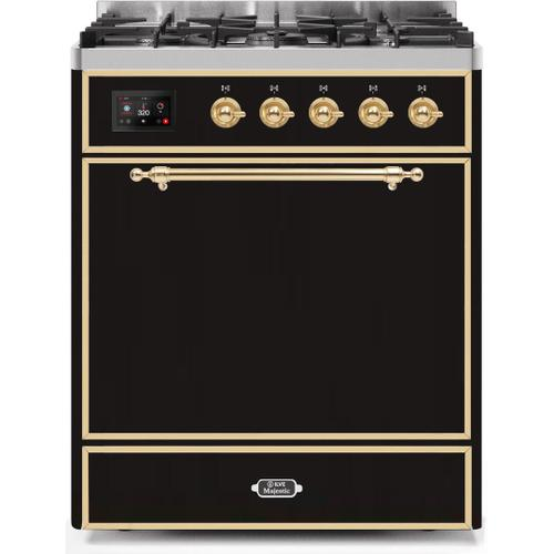 Product Image - Majestic II 30 Inch Dual Fuel Natural Gas Freestanding Range in Glossy Black with Brass Trim