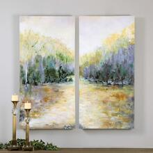 Summer View Hand Painted Canvases, S/2