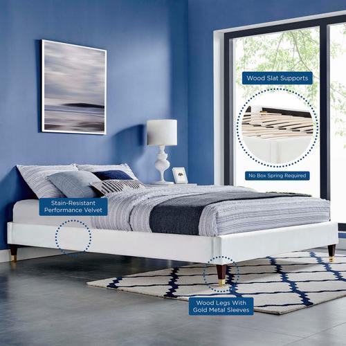 Harlow Full Performance Velvet Platform Bed Frame in White