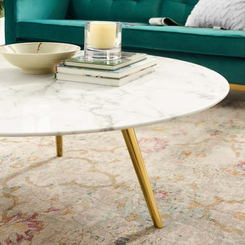 """Lippa 40"""" Round Artificial Marble Coffee Table with Tripod Base in Gold White"""