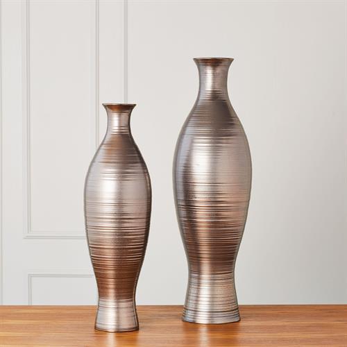 Horizontal Texture Vase-Bronze-Sm