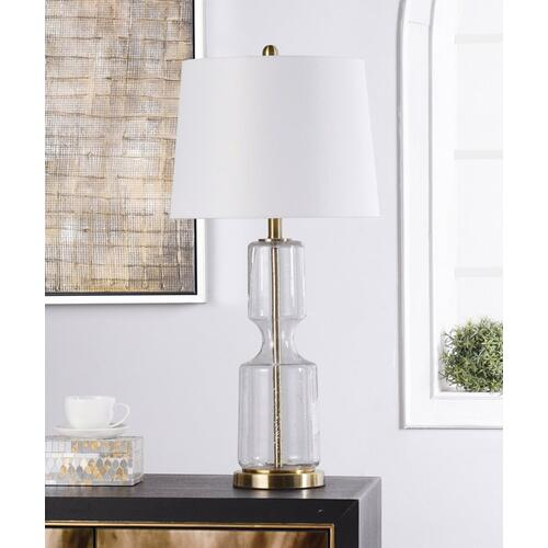 CLEAR SEEDED  31in X 15in  Transitional Glass and Antique Brass Steel Table Lamp