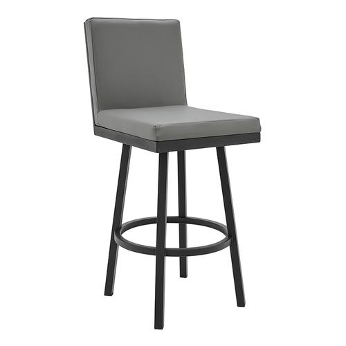 """Gem 30"""" Bar Height Swivel Barstool with Black Finish and Grey Faux Leather"""