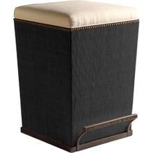 Ecru Fabric Purveyor Counter Stool in Black Finish