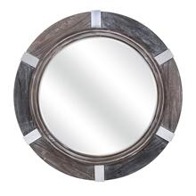 Magda Round Wooden Mirror with Metal Accents