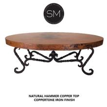 Hammer Copper Oval Coffee Table - Iron legs - Natural Copper / Dark Rust Brown