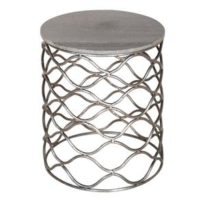 CRESTVIEW COLLECTIONSBengal Manor Solid Iron Accent Table in Nickel Finish w/ Grey Marble Top