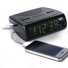 AM/FM clock radio with a USB charging port