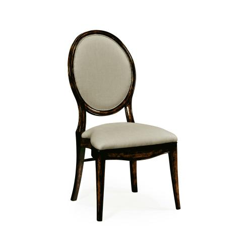 Stacking Spoon Back Honey Black Dining Side Chair, Upholstered in Mazo