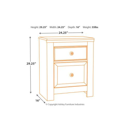 Paxberry Two Drawer Night Stand Whitewash