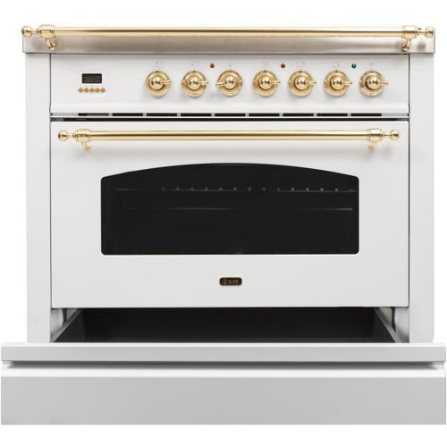 Nostalgie 36 Inch Dual Fuel Natural Gas Freestanding Range in White with Brass Trim