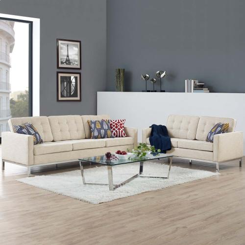 Loft 2 Piece Upholstered Fabric Sofa and Loveseat Set in Beige
