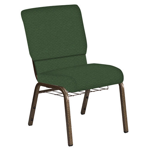 Flash Furniture - 18.5''W Church Chair in Fiji Aloe Fabric with Book Rack - Gold Vein Frame