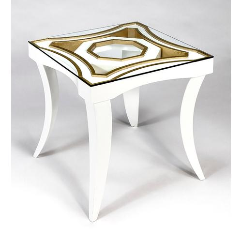 """Artmax - End Table with Glass 24x24x27"""""""