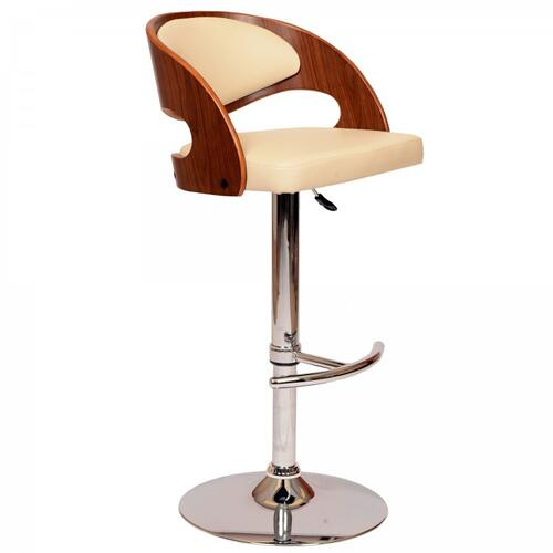Armen Living - Armen Living Malibu Swivel Barstool In Cream PU/ Walnut Veneer and Chrome Base
