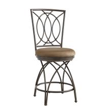 Upholstered Seat and Metal Crossed Legs Counter Stool, Bronze and Tan