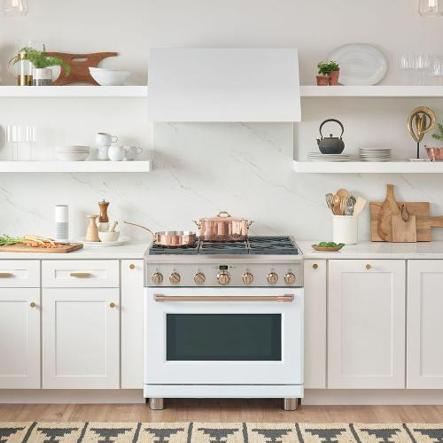 """Café 36"""" All Gas Professional Range with 6 Burners Matte White"""