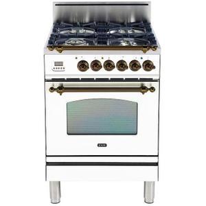 Nostalgie 24 Inch Gas Liquid Propane Freestanding Range in White with Bronze Trim