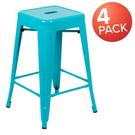 "24"" High Metal Counter-Height, Indoor Bar Stool in Teal - Stackable Set of 4 Product Image"