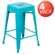 "24"" High Metal Counter-Height, Indoor Bar Stool in Teal - Stackable Set of 4"