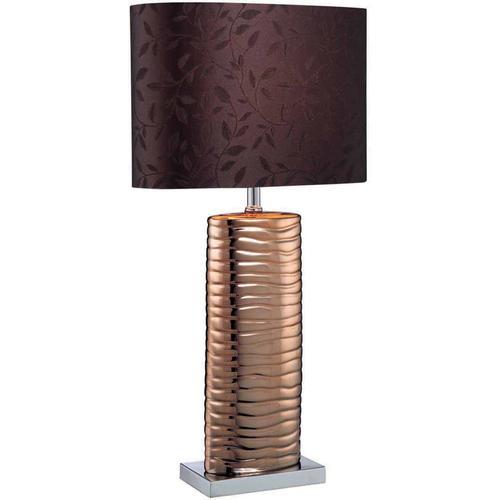 Table Lamp, Copper Ceramic/chrome/brown Fabric, E27 Cfl 13w