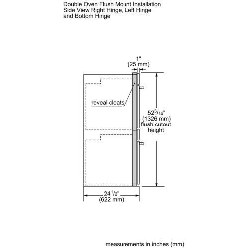 Double Wall Oven 30'' Door Hinge: Left, Stainless Steel MED302LWS