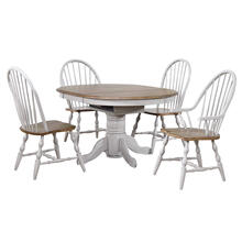 See Details - Round or Oval Extendable Dining Table Set - Distressed Gray & Brown (3 Piece)