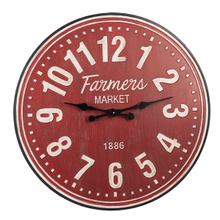 "Distressed Red ""Farmers Market"" Wall Clock"
