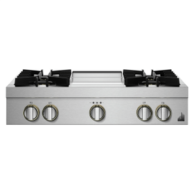 """36"""" RISE™ Gas Professional-Style Rangetop with Chrome-Infused Griddle"""