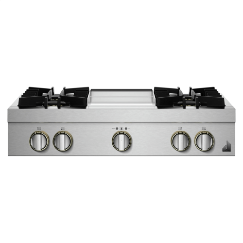 "36"" RISE™ Gas Professional-Style Rangetop with Chrome-Infused Griddle"