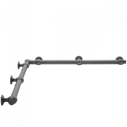 "Satin Nickel - G61 36"" x 48"" Inside Corner Grab Bar"