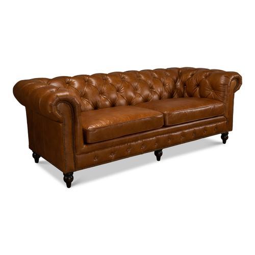 Tufted English Club Sofa, Cuba Brown