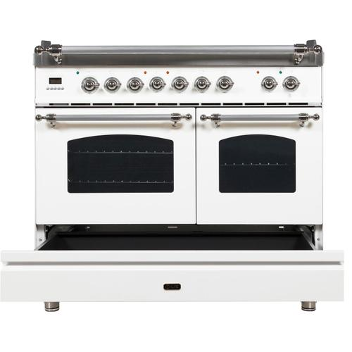 Nostalgie 40 Inch Dual Fuel Natural Gas Freestanding Range in White with Chrome Trim