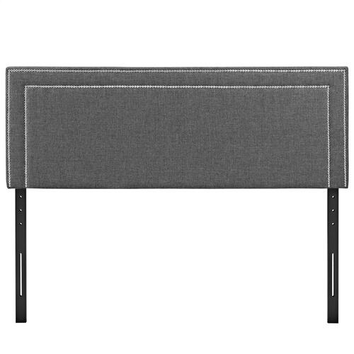 Jessamine Queen Upholstered Fabric Headboard in Gray