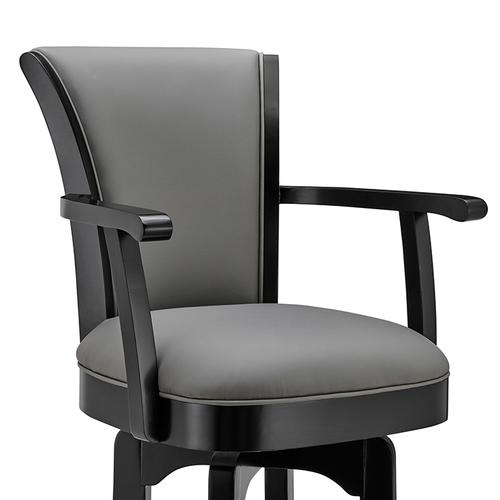 "Raleigh Arm 26"" Counter Height Swivel Barstool in Black Finish and Gray Faux Leather"