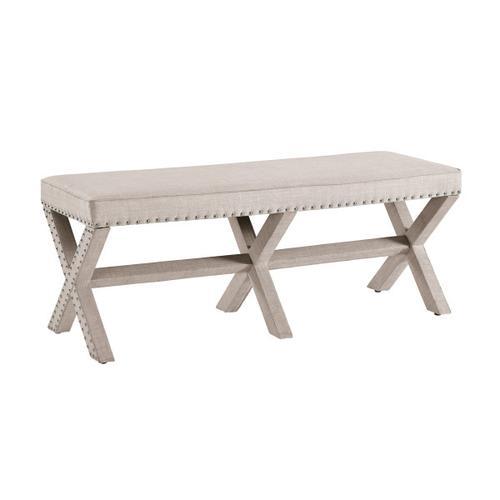 Beige Upholstered 'X' Base Bed Bench