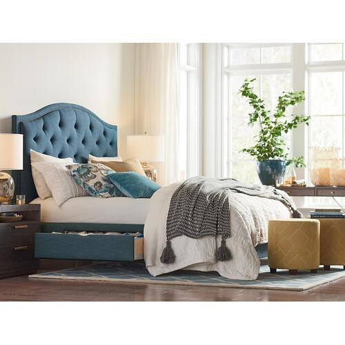 Custom Uph Beds Florence Queen Clipped Corner Bed, Storage 1 Drawer, Insert Type Tufted