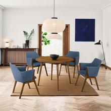 """See Details - Arcadia and Renzo 42"""" Round Blue and Walnut Wood 5 Piece Dining Set"""