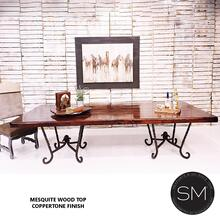 Double Pedestal Dining Table Rectangular Mesquite Wood Top - 8Ft / Bullnose / Dark Rust Brown