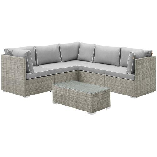 Modway - Repose 6 Piece Outdoor Patio Sectional Set in Light Gray Gray
