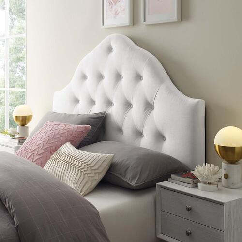 Sovereign Queen Diamond Tufted Performance Velvet Headboard in White