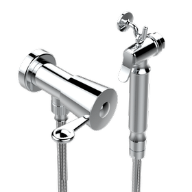 Handheld spray bidet with hose, elbow and hook