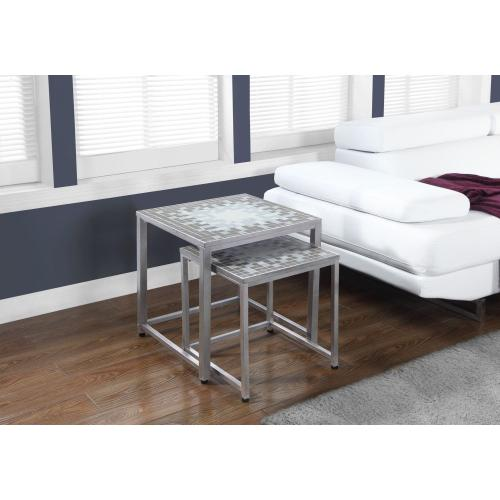 Gallery - NESTING TABLE - 2PCS SET / GREY / BLUE TILE TOP / SILVER