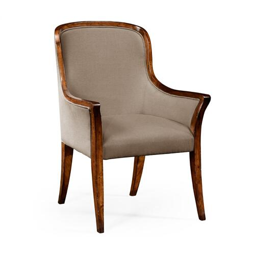 Low Curved Back Upholstered Dining Arm Chair